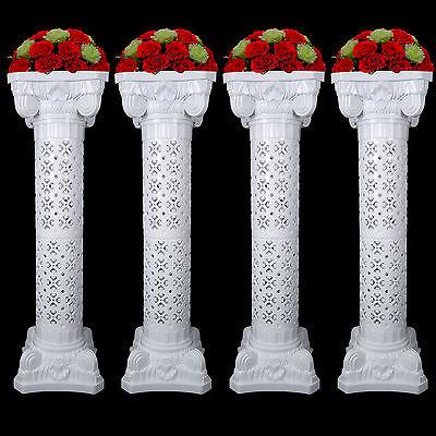Plastic Roman Columns (White Wedding Plastic Roman Decorative Adjustable Column Pillars W/ Flower)