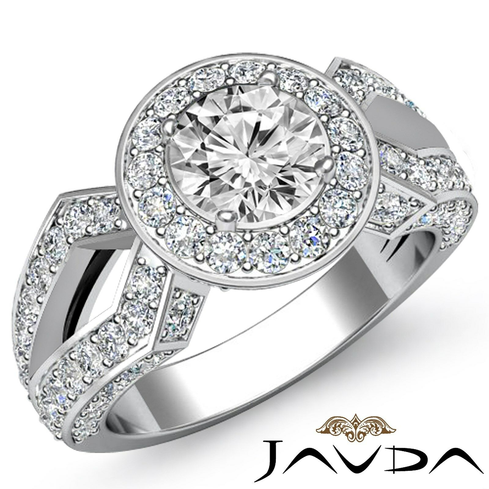 Split Shank Pave Set Halo Women's Round Diamond Engagement Ring GIA H VS1 2.92Ct