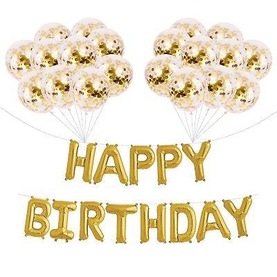 16''Golden Mylar Happy Birthday Balloons and 20 Gold Confetti Balloons - Balloons And Confetti
