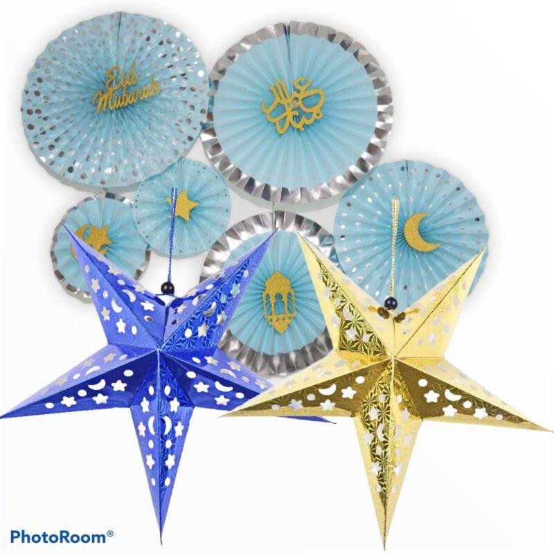 Eid Mubarak Blue Paper Fans Eid Decorations Set With Stars Uk