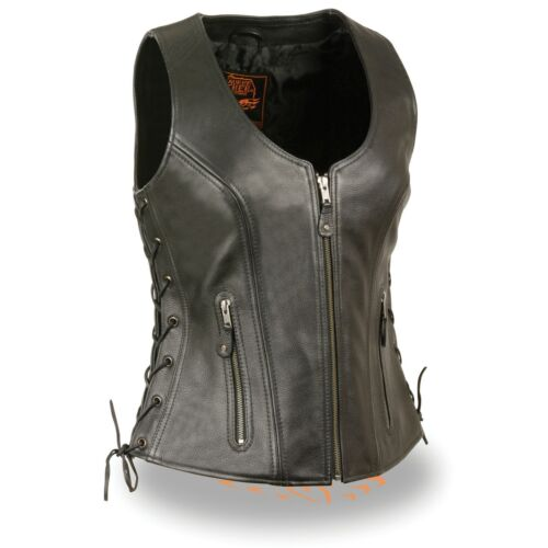 4531 Ladies Zip Up Black Leather Vest