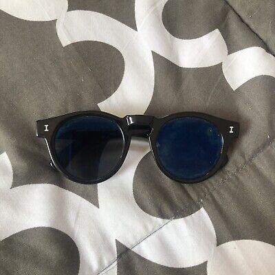 ILLESTEVA Leonard Sunglasses in Glossy Black w/Blue Mirror Lens Made In Italy