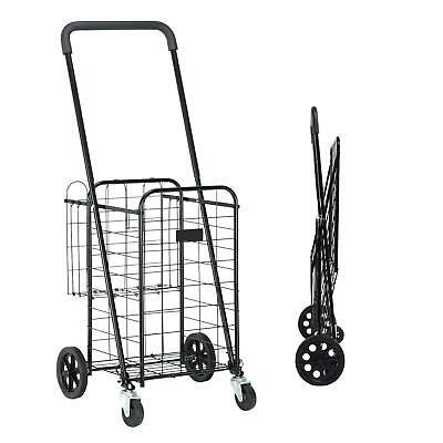 Black Folding Shopping Cart Utility Trolley Foldable Grocery Laundry Travel Us