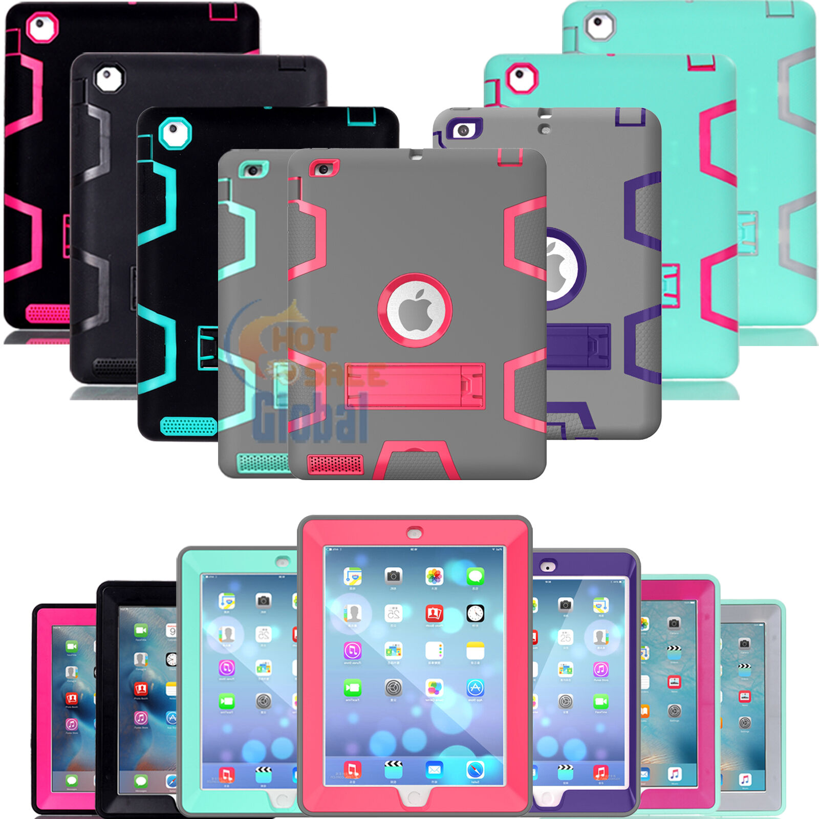 Ipad Mini Case - Shockproof Military Heavy Duty Rubber With Hard Stand Case Cover For Apple iPad