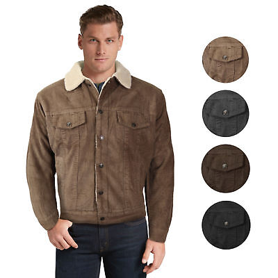 Men's Premium Classic Button Up Fur Lined Corduroy Sherpa Trucker Jacket Sherpa Corduroy Jacket