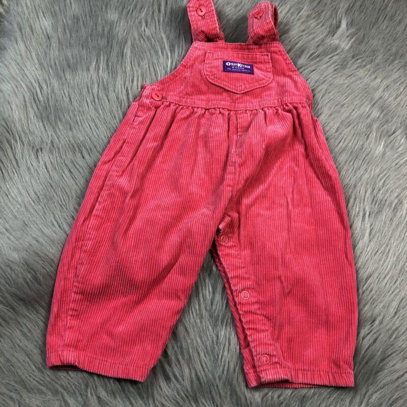 Vintage Oshkosh Bgosh Pink Corduroy Baby Girls Overalls