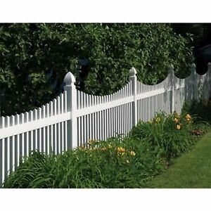 PVC WHITE VINYL PICKET FENCING 4' HIGH X 8' WIDE - STRAIGHT OR SCALLOP