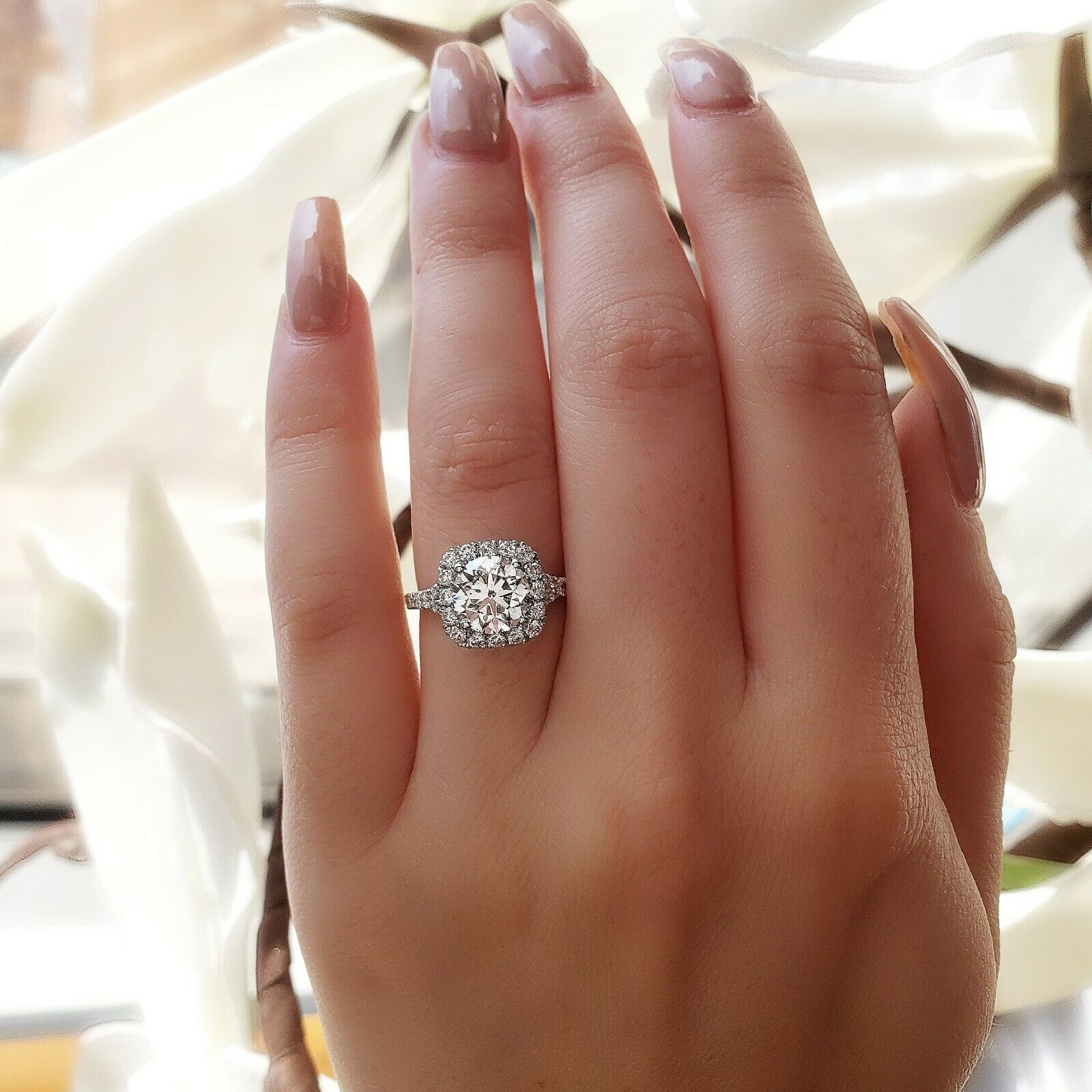 1.50CT Natural Round Cut Halo Baby Split Shank Pave Diamond Engagement Ring  GIA