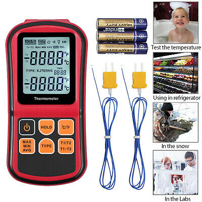 Lcd Two Channel 2 K-type Digital Thermometer Thermocouple Sensor W Backlight