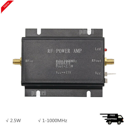 2.5W RF Power Amplifier 1-1000MHz Radio Frequency Power Amplifier Black
