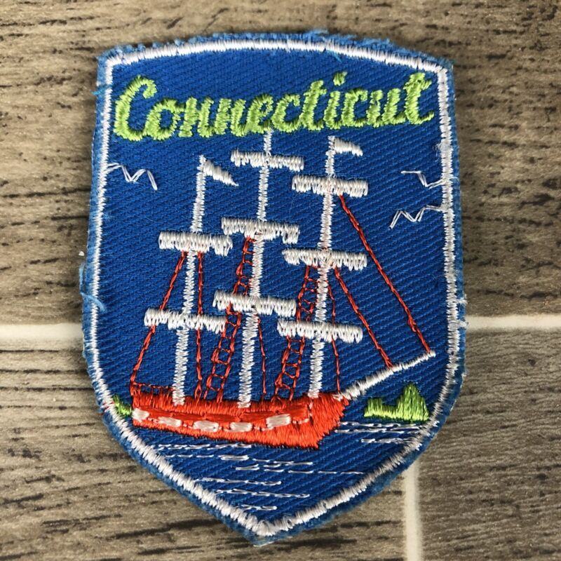 Connecticut Tall Sailing Ships State Patch - Embroidered Souvenir Travel Patch