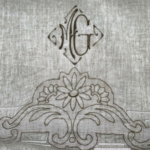 Vintage French linen sheet white trousseau MG monogram 85X122 inches King size