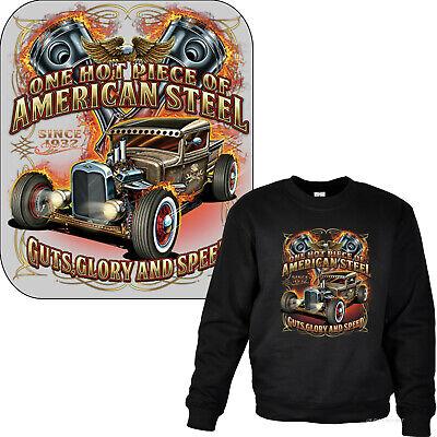Hot Rod Sweatshirt Auto Kustom SpeedShop retro v8 Slogan Garage Shirt 1160X bl