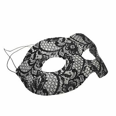 Womens Fancy Dress Mystery Masquerade Black Lace Detailed Eye Mask Princess Ball