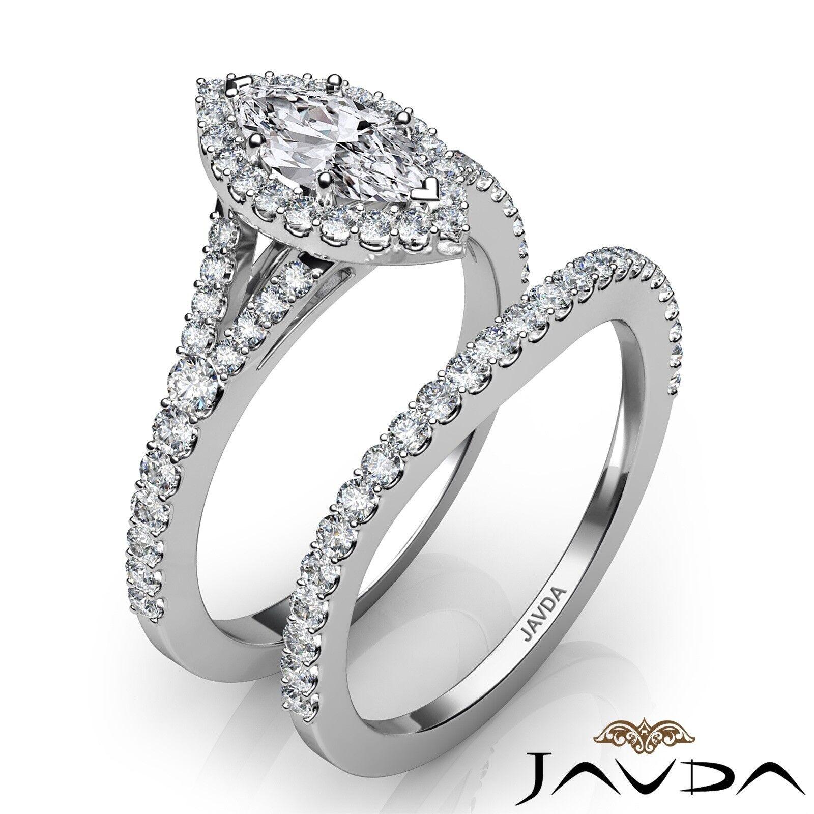 2.02ctw Halo Bridal Set Split Shank Marquise Diamond Engagement Ring GIA F-SI1 2