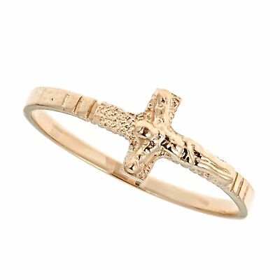 (Children's 14k Yellow Gold Sideways Crucifix Cross Baby Ring Kids Size 3.5)