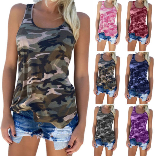Übergröße Damen Camouflage Tank Top Trägertop Sommer Bluse T Shirt Hemdbluse