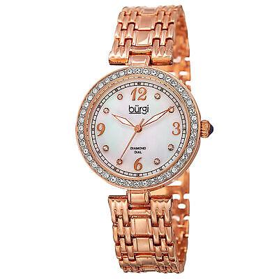 Women's Burgi BUR136RG Mother of Pearl Swarovski Accented Crystal Bezel Watch
