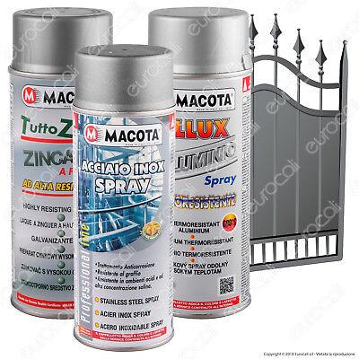 MACOTA Metalli Zincante Alluminio Acciaio Inox Vernice Spray allo Zinco NON COLA