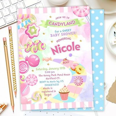 Candyland Baby Shower (DIGITAL FILE - CANDYLAND Baby Shower Invitation, Sweets Party Invite - U)