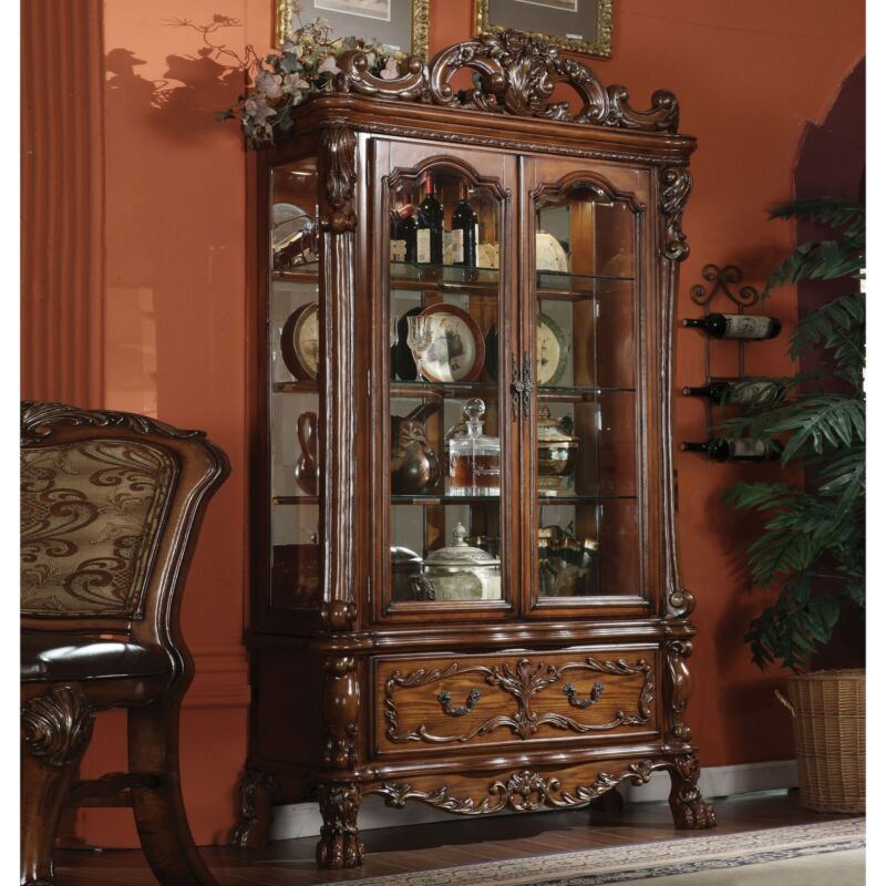 ACME Dresden Curio Cabinet, Cherry Oak (1Set/2Ctn) Brown Vintage