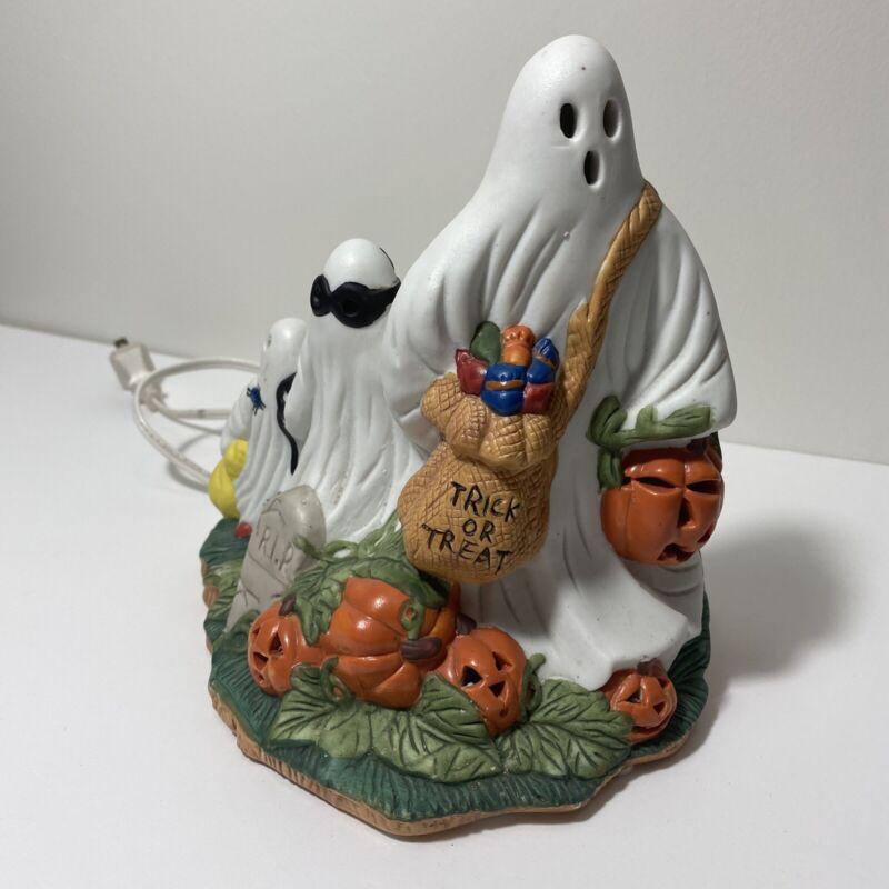 vintage ceramic Prettique 1993 Halloween Lamp ghosts Pumpkins Itty Bitty Boo