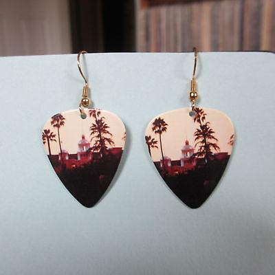 EAGLES Earrings; Hotel California LP Cover; Guitar Pick Jewelry; Gold Tone