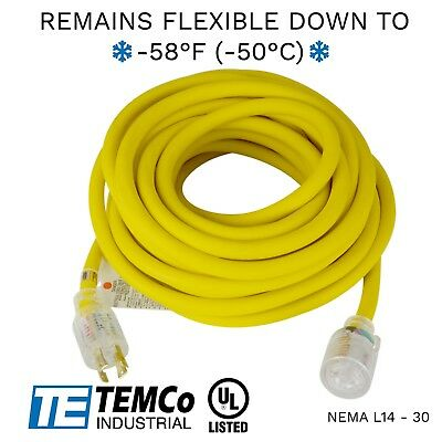 Temco 50ft Cold Weather Generator Cord Yellow Nema L14-30 125250v 30a Ul