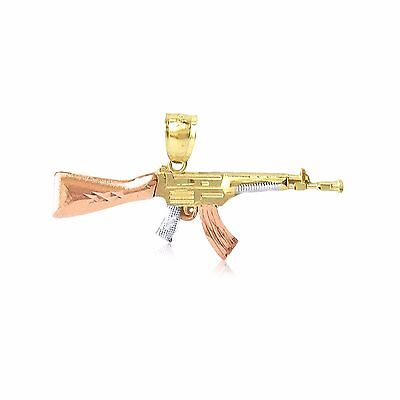 10K Solid Yellow White Rose Gold Rifle Gun Pendant -AK-47 Machine Necklace (Rose Gold White Gold Necklace)