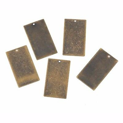 """10 Distressed Brass Stamping Blanks Charms LARGE RECTANGLE shape 1 1/4"""" msb0308"""