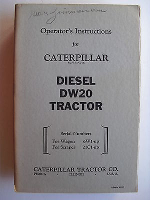 Caterpillar Diesel Dw20 Tractor Operators Instruction Guide
