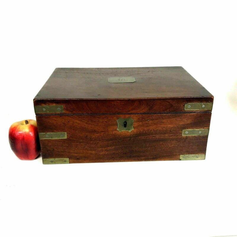 19th Century Mahogany Brass Bound Captain Lap Desk W/ Drawer