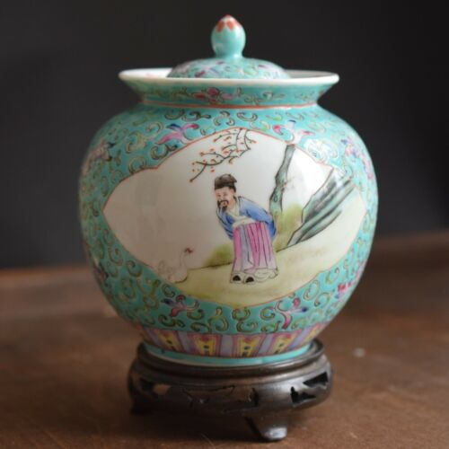 Chinese famille rose lidded jar / tea caddy Second Half of 1900
