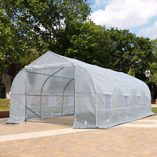 Outsunny 20x10x7ft Garden Warm House Walk-in Tunnel Greenhouse 2 Anchor Way