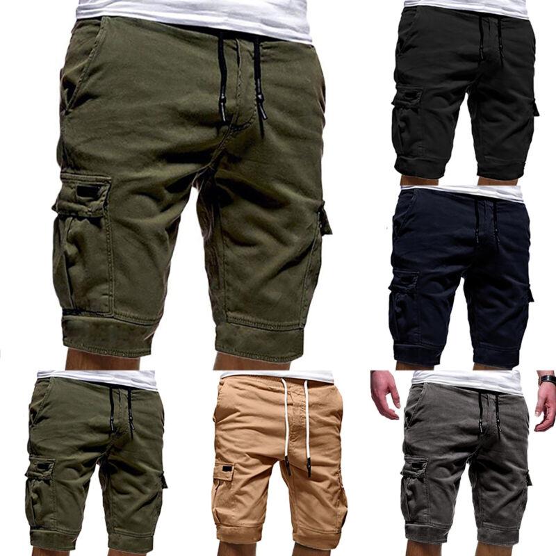 Men Casual Jogger Shorts Sports Cargo Pants Military Combat