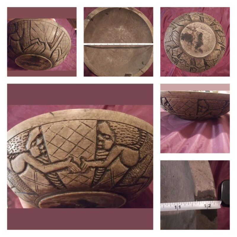 """🖤 Hand Carved Wooden Tribal 12"""" Bowl 🖤"""