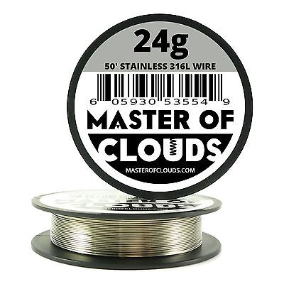 Ss 316l - 50 Ft. 24 Gauge Awg Stainless Steel Resistance Wire 0.51 Mm 24g 50