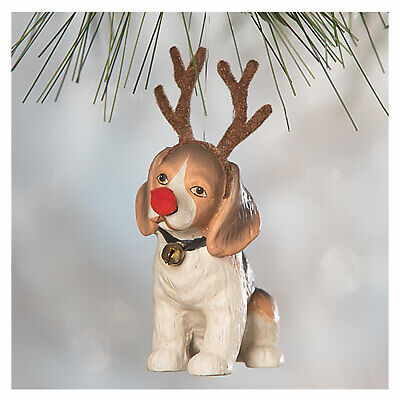 """3.5"""" Bethany Lowe On Patches Dog Beagle Reindeer Vntg Christmas Ornament Decor"""