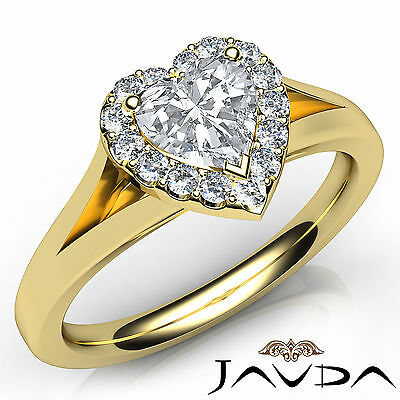 Halo Split Shank French Pave Heart Cut Diamond Engagement Ring GIA F VVS2 0.7Ct