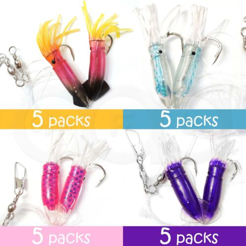 "20pairs 3 Inch Rock Cod Fishing 3"" Twin Bulb Squids Rockcod Bait Rig 4-colors"
