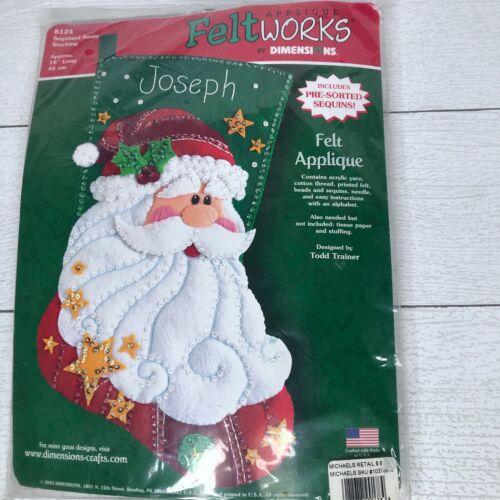 "Dimensions Feltworks Applique Christmas Stocking Sequin Santa 18"" Long"