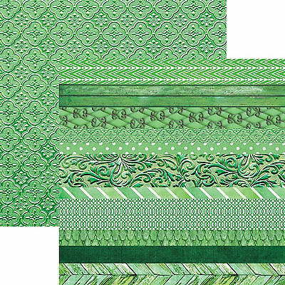 Paper House EMERALD-EDGINGS 12x12 Dbl-Sided (2)PCS Printed Cardstock