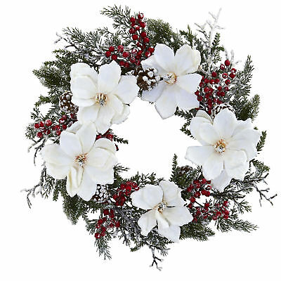 """Artificial 22"""" Snow Frosted Magnolia Holly Berry & Pine Winter Holiday Wreath"""