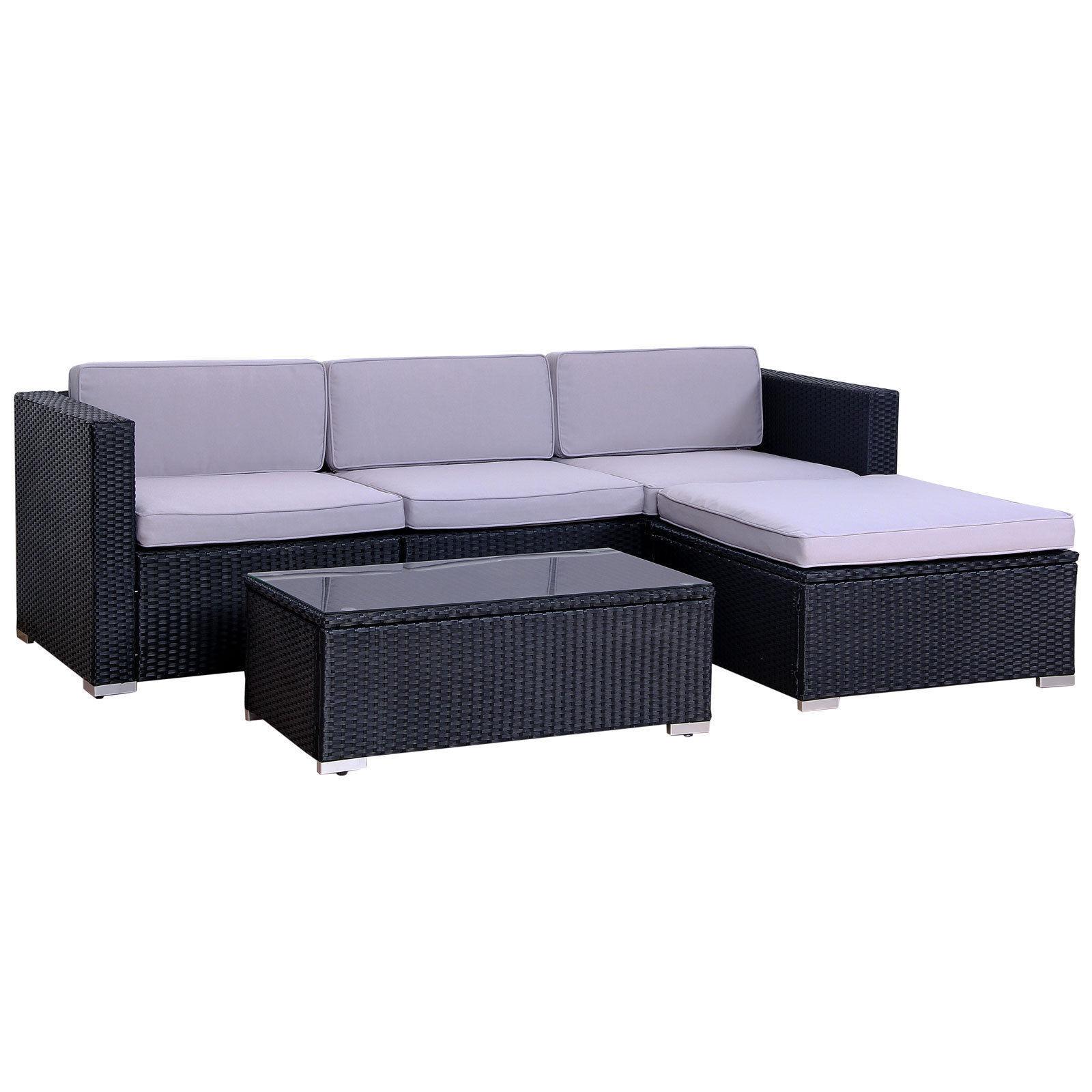 Garden Furniture - Evre Outdoor Four Person Rattan Garden Furniture Set Modular Set Patio Sofa