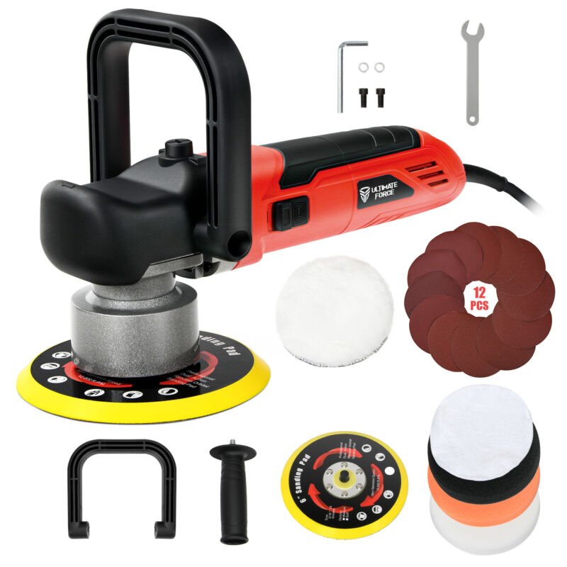 """IRONMAX 6"""" Electric Dual Action Orbital Polisher Sander Kit w/ 6 Variable Speeds"""