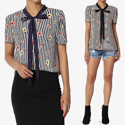 TheMogan Floral & Stripe Print Bow Neck Puff Short Sleeve Top Chiffon -