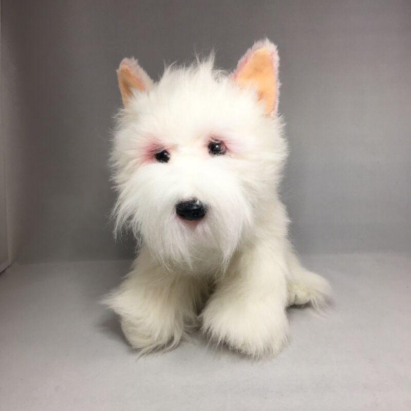 "Realistic White Scottish Terrier Scotty Scottie Dog Puppy Plush Stuffed 9"""