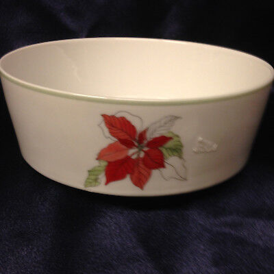 """BLOCK SPAL PORTUGAL POINSETTIA COUPE CEREAL BOWL 5 3/4"""" RED FLOWERS GOERTZEN"""
