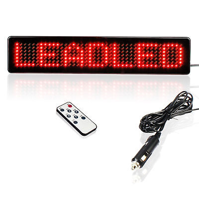 12v Car Led Sign Ir Remote Programmable Red Message Scrolling Display Board New