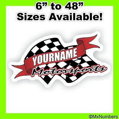 Custom Motorsports (Custom Your Name Motorsports Decals Trailer Truck Race Car Go Kart Sprint IMCA )